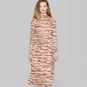 Wild Fable Tiger Print Mock Turtleneck Mesh Dress